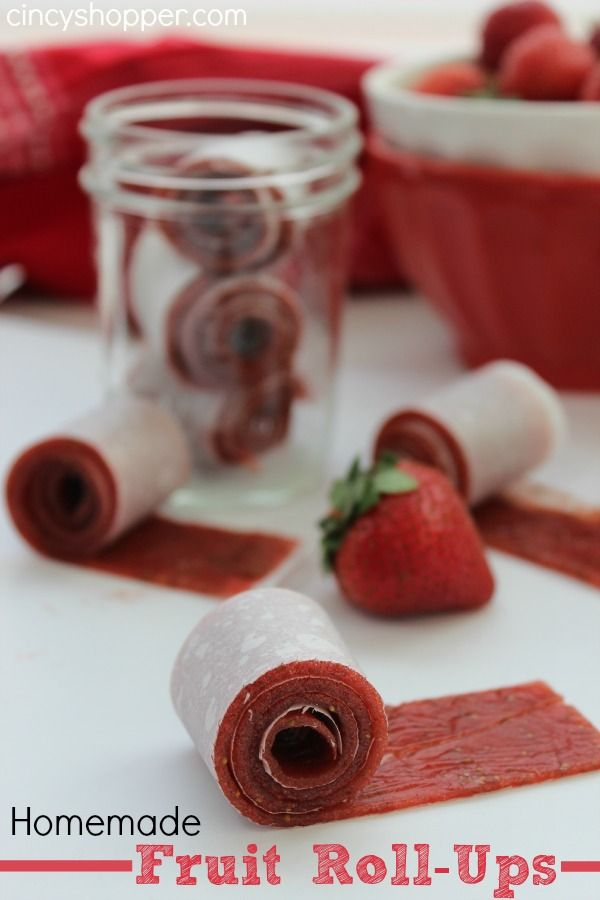 Homemade Fruit Roll-Ups Recipe. Perfect for a summer snack or back to school lunches.