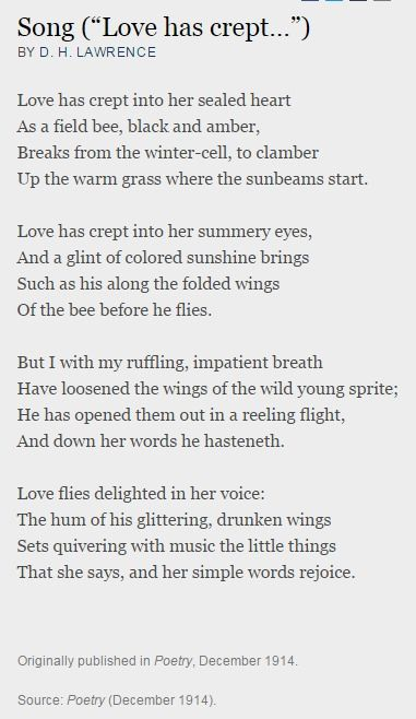 """Song (""""Love has crept..."""") by D. H. Lawrence : Poetry Magazine"""