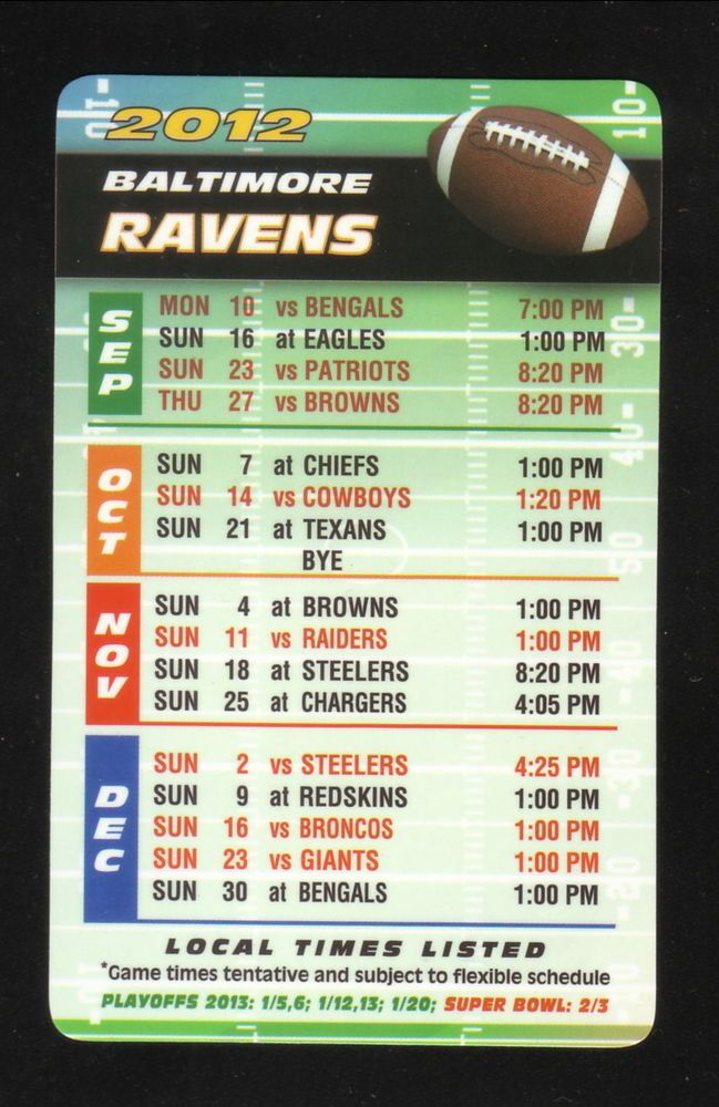 2012 Baltimore Ravens Schedule--crw Flags from $0.99