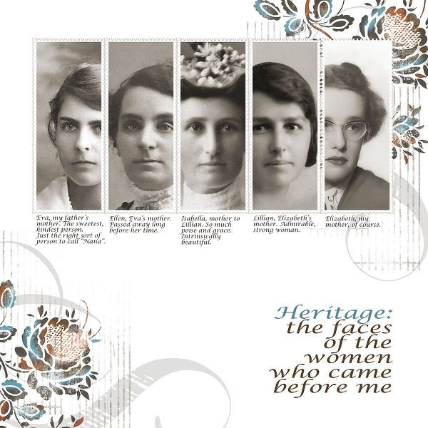Heritage: the faces of women who came before me...what a beautiful and modern way to showcase photos of this kind!
