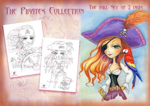 Pirates Digital Stamps Set of 3 Digital Stamps Girl by JuliaSpiri