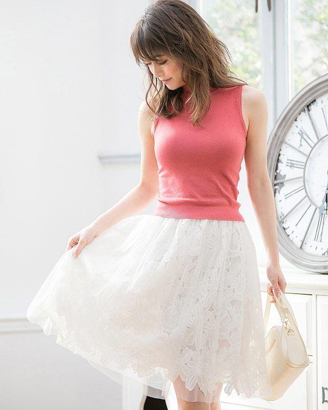 ✨2016 Spring&Summer✨ チュールドッキングフラワーレーススカート ¥2,769 ホワイト/M 【品番:CL16S0204】 . #Color#2016ss#fashion#フラワー #レース#チュールスカート#フレアスカート #ホワイト#泉里香#coordinate