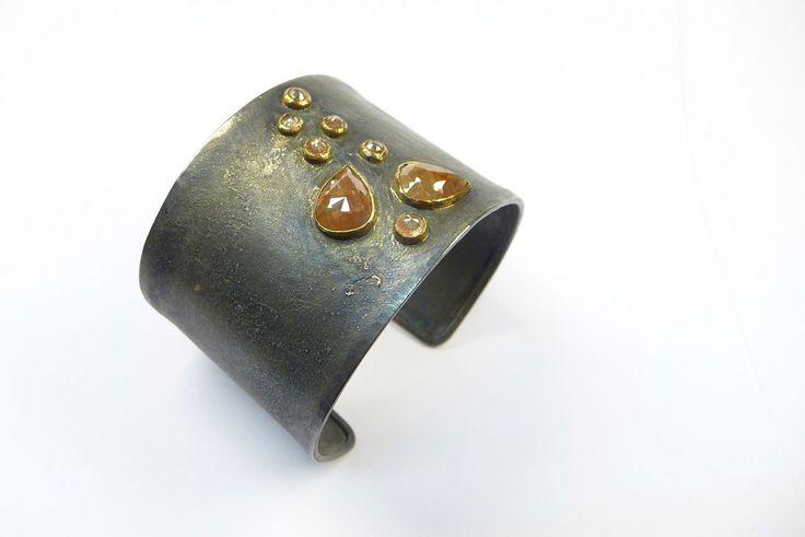 Armreif Silber / Platin, Diamantrosen