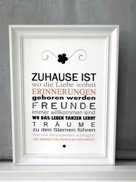 FINE ART Druck ZUHAUSE IST... Kunstdruck Print von SCHILDERMANUFAKTUR   ---  homestyle-accessoires  --- auf DaWanda.com