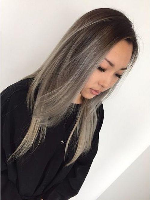 balayage asian gray hair