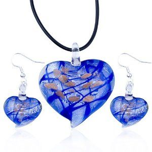 Pugster Christmas Gifts Blue Heart Pendant And Earring Murano Glass Jewelry Set Pugster. $29.69. Perfect gift for Christmas. Free Jewerly Box. Money-back Satisfaction Guarantee. Free Chain in a matching metal will be included. Designed for personal style