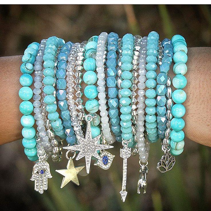 Beaded bohemian charm stacking bracelets designed by Denise Yezbak Moore