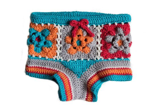 PDF Crochet Pattern for Flower Granny Square Shorts - Sizes 2 to 5 years…