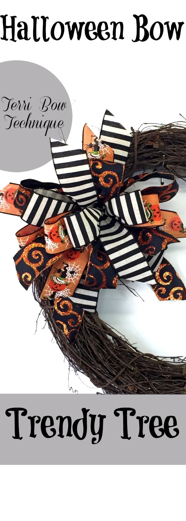 2017 Halloween bow using the Terri Bow technique and the Pro Bow bowmaker. We used scrap ribbon for this project, but the styles are still in stock here at