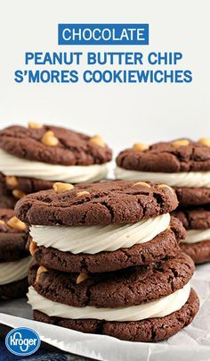 Chocolate Peanut Butter Chip S'more Cookiewiches—need we say more? This dessert recipe from Inspired Gathering really has it all. This scrumptious cookie sandwich treat is perfect for when your family wants to enjoy s'mores flavor all year round!