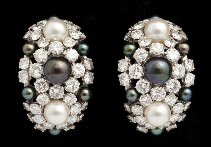 Pearl and diamond earrings by Rene Boivin circa 1960.:
