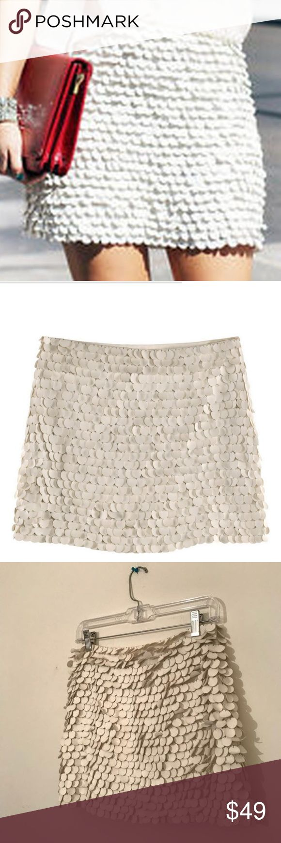Zara Leather Sequin White Mini Skirt SS 12 Zara Leather Sequin White Mini Skirt SS 12 Zara woman spring summer 2012 collection  Mini skirt with white circular details throughout  It is heavy and great quality  Good condition  Pair with a darker top for a nice contrast  Perfect for spring and summer- especially for holidays  Size S Zara Skirts Mini