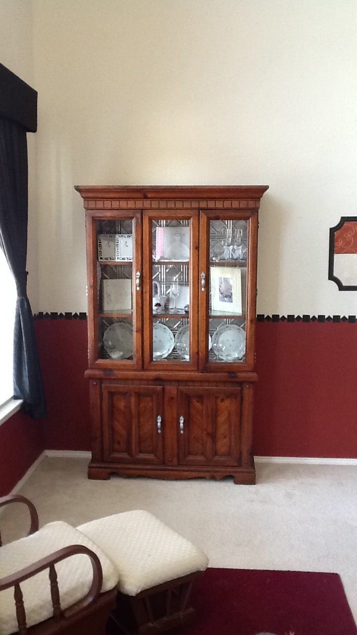 Repurposed China Cabinet Replaced The Backing To Match
