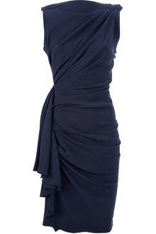 Lanvin Draped and Gathered Fitted Dress in BLUE