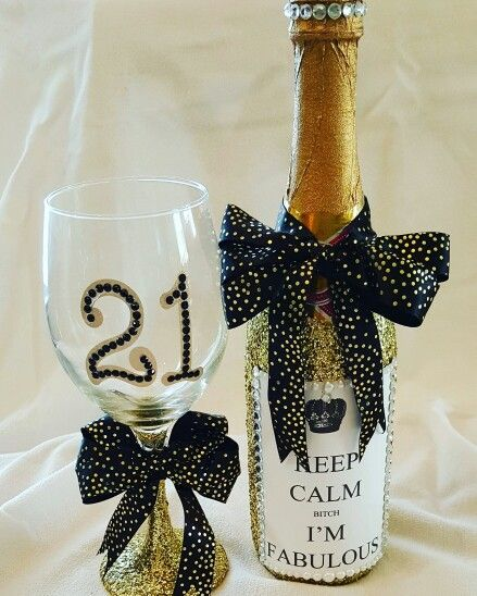21st birthday glitter wine glass and glitter champagne bottle