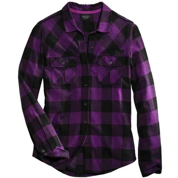 Harley-Davidson Women's Buffalo Long Sleeve Plaid Shirt, Purple... found on Polyvore featuring tops, shirts, harley-davidson, purple top, harley davidson shirts, tartan top and purple plaid shirt