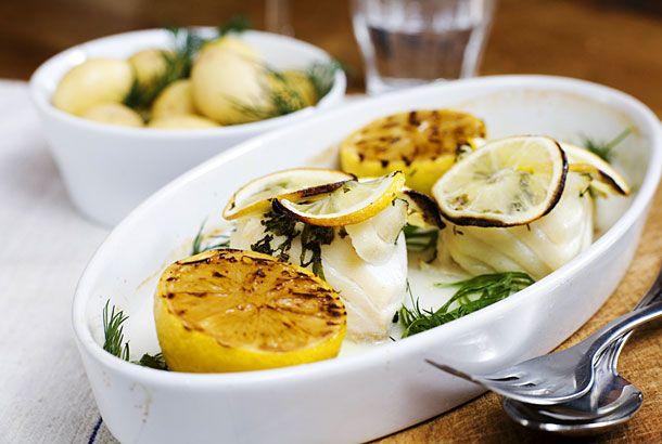 Ugnsbakad torsk med citron och mynta   Recept från Köket.se