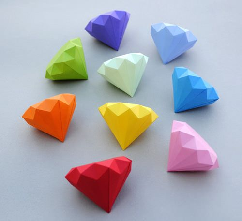 3D paper diamonds. Would be cute for an engagement party or wedding