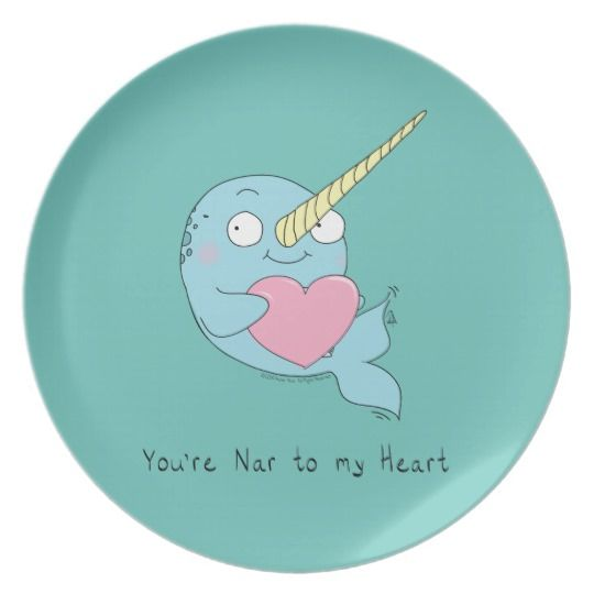 Narwhal with Heart Valentine's Day Melamine Plate | Zazzle.com