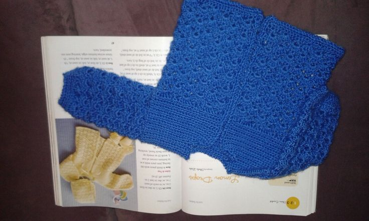 """Lemon Drops cardi by Sheila Leslie. I made it in Caron Simply Soft Light """"Riviera""""."""