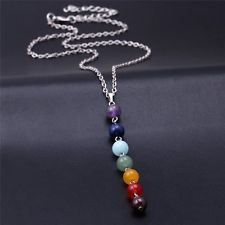 Natural Gemstone Multi Colour Beads Reiki Chakra Healing Point Pendant Necklace