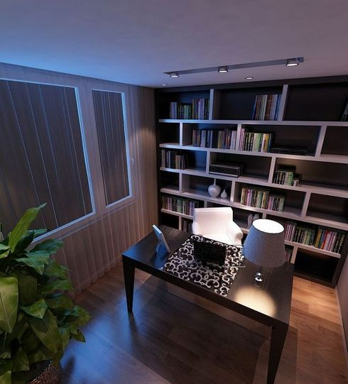 Not only cement walls, glass, curtains can be used as partitions, furniture can be, the most common is a cabinet furniture. Behind the small study, success serves as a partition function.
