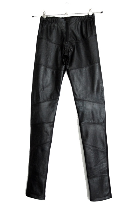 Custom made pants of recycled leather and tricot made by Finnish designer Sanna Hopiavuori.