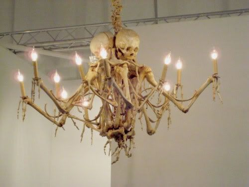 This is pretty much perfect. Skeleton chandelier.