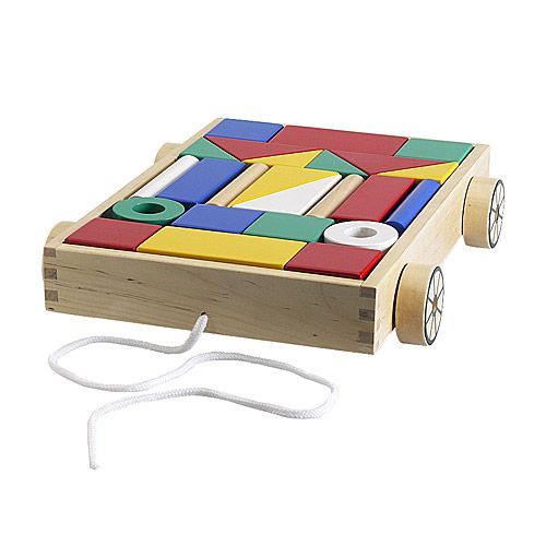 IKEA - MULA, 24 building blocks with wagon, , Durable building blocks of solid wood.The cart is both a toy and smart storage for building blocks.Develops fine motor skills and logical thinking.The pattern in the bottom of the cart makes it easy to keep the building blocks in order.