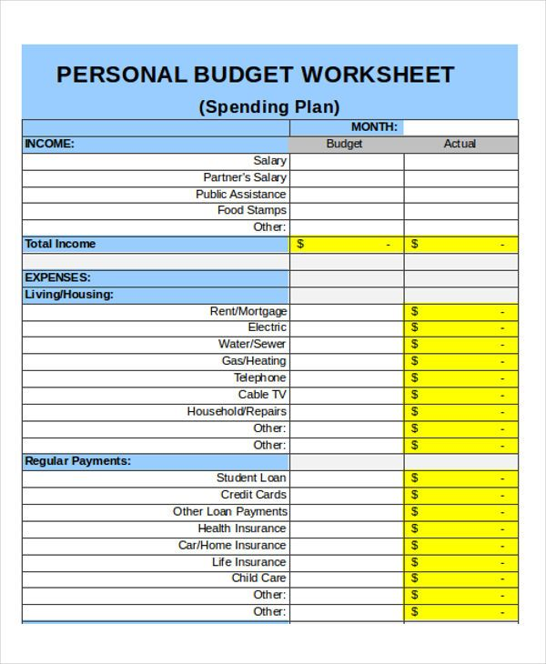 Single Person Budget Template Single Person Budget Worksheet