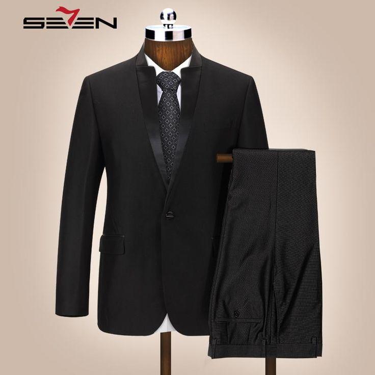Men Suits Mandarin Collar Suit Slim Fit Blazer Wedding Tuxedo Jacket   Pant
