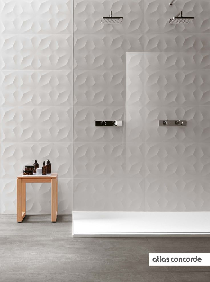 The decorative three-dimensional wall tiles, resistant to moisture and easy to clean, are perfect for spa, wellness centres and hotel bathrooms, in particular used as shower tiles and for surfaces in contact with water. | 3D WALL DESIGN / DIAMOND |  atlasconcorde.com