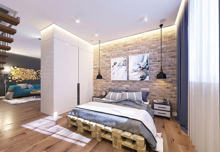Спальня в стиле лофт: 20 фото дизайна