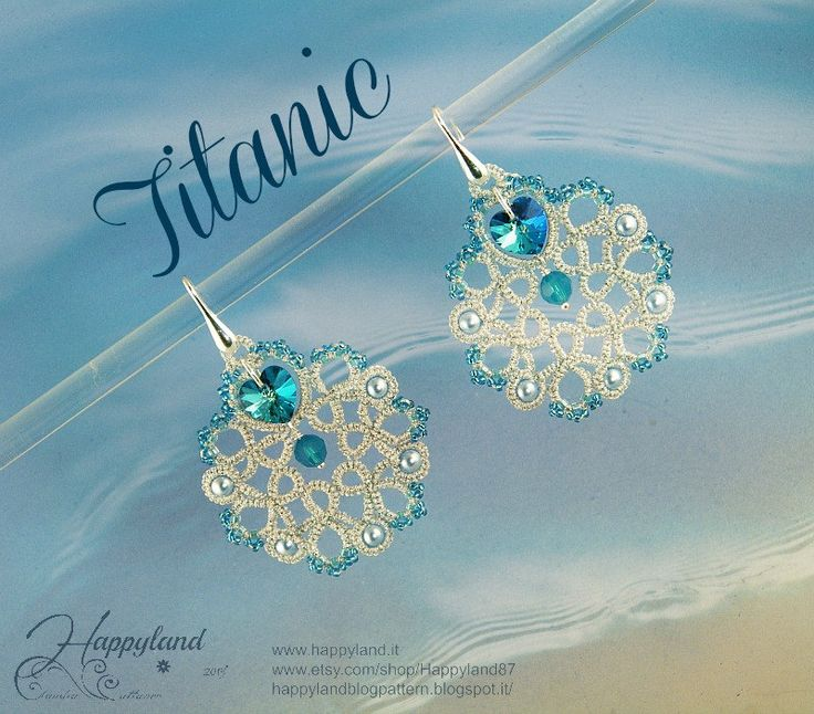 Titanic needle tatting earrings pattern by Happyland87 on Etsy