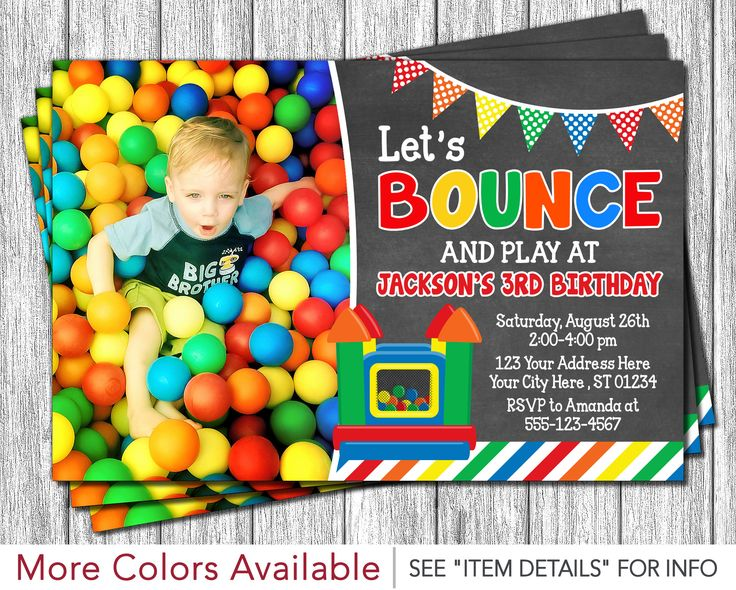 Bounce House Birthday Invitation - Printable Bounce House Invitations - Bouncy House Birthday Invitation - Bounce House Party by PuggyPrints on Etsy