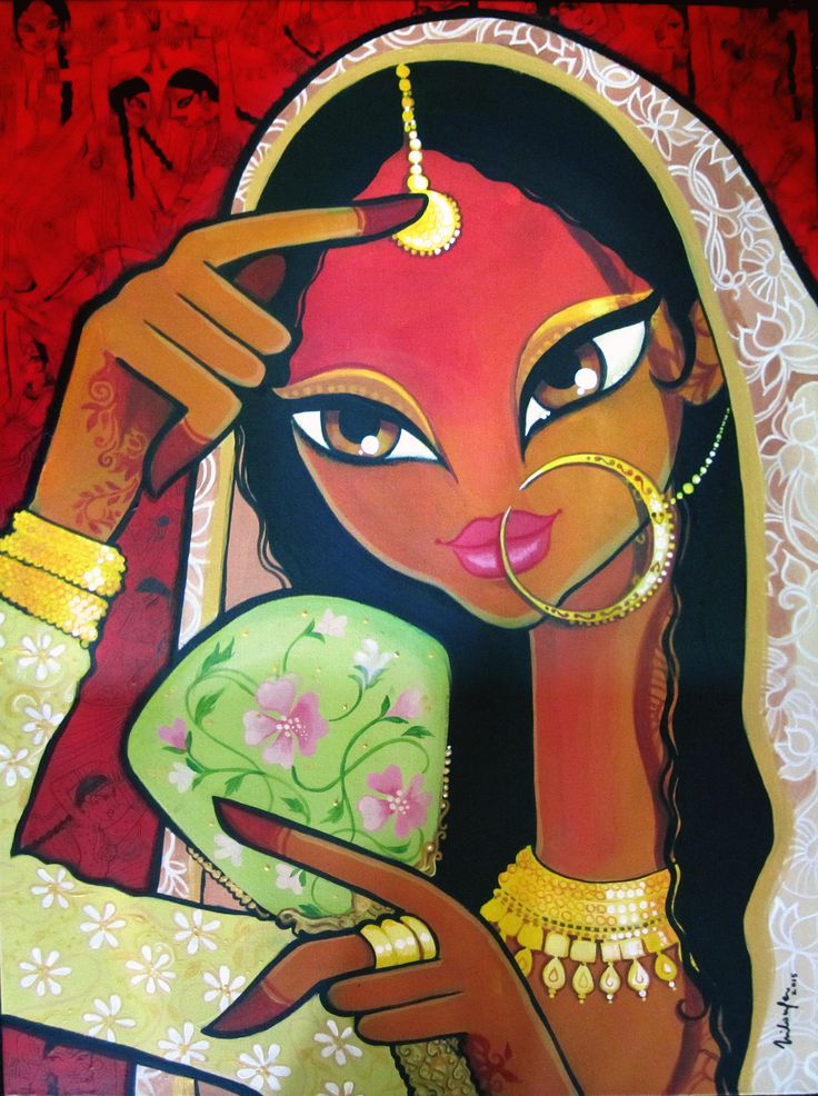 Nautch Girl. Acrylics on Canvas. Niloufer Wadia.