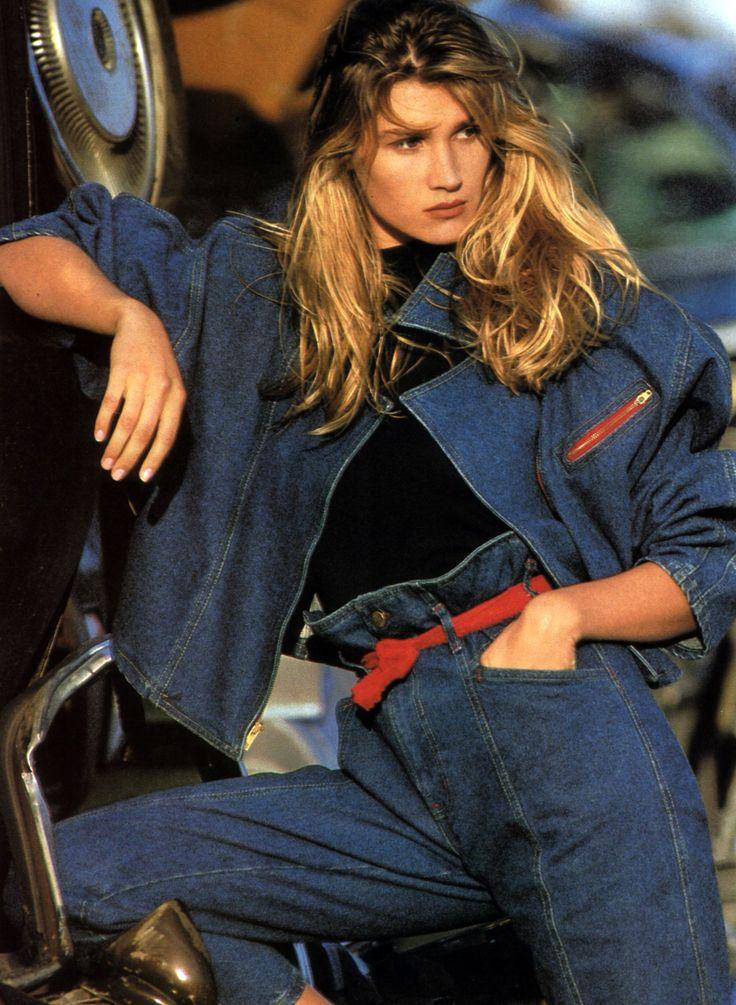 80s double denim. LOVE it.  Sunset Blues, Elle magazine, March 1988.