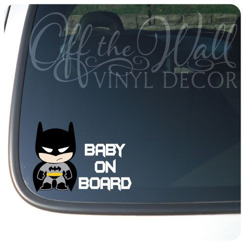 "Baby Batman ""BABY ON BOARD"" Vinyl Sticker on Etsy, $4.99"