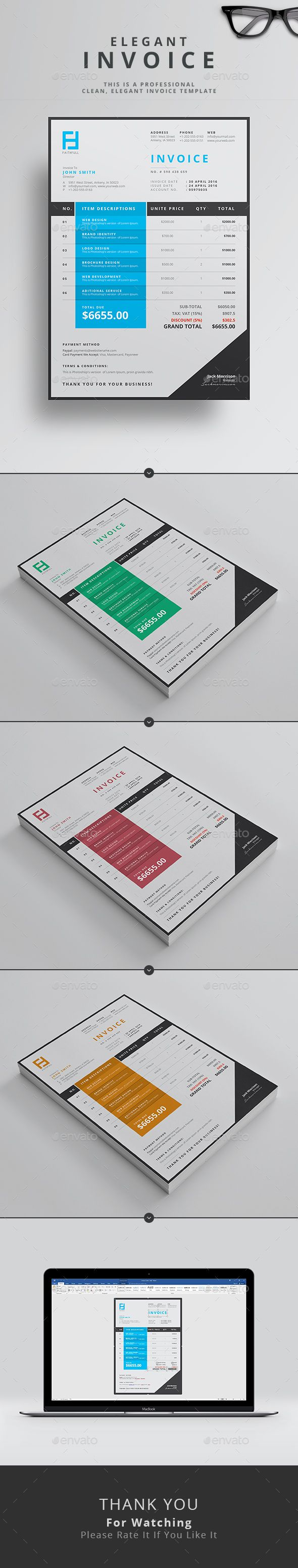 Proposal Template Microsoft Word 12 Best Invoice Templates Images On Pinterest  Invoice Template .