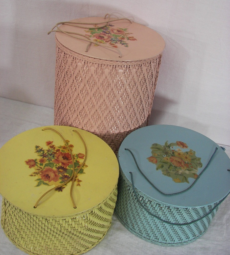 Vintage Wicker Sewing Baskets I have this in yellow from my mother!