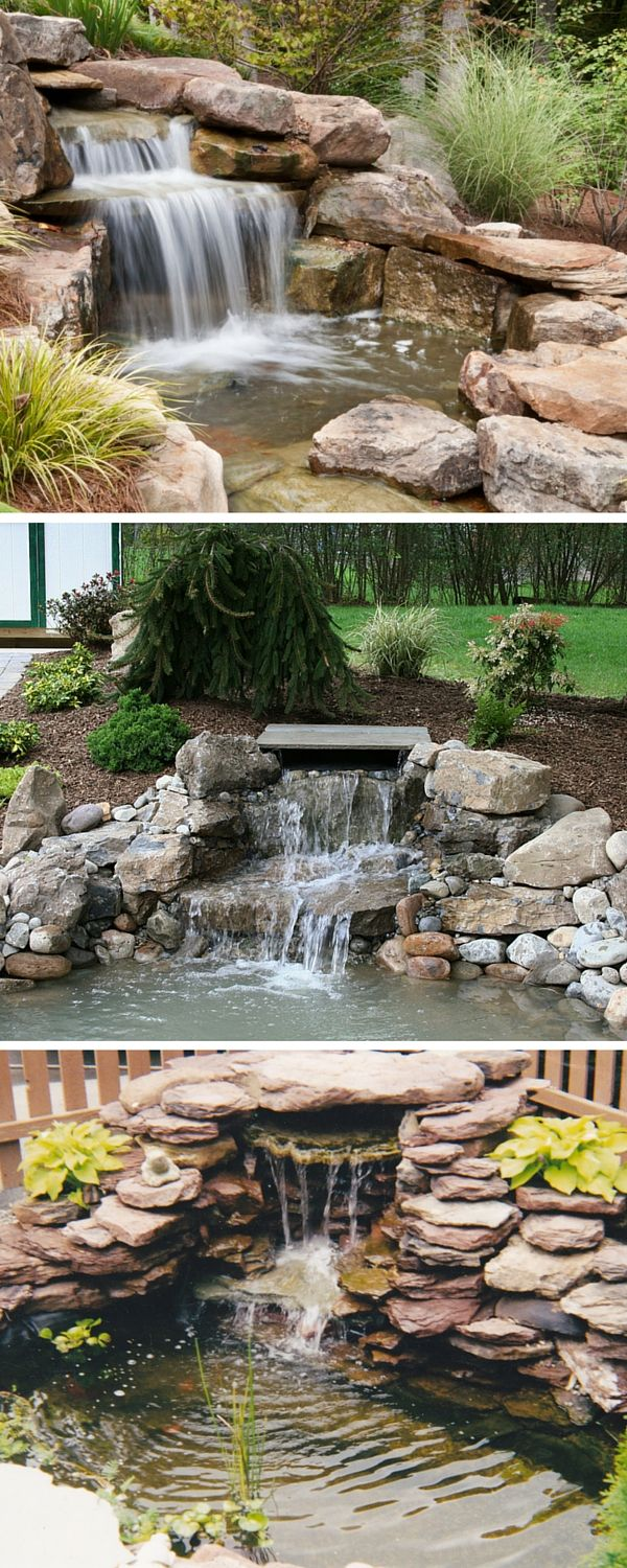 Small backyard waterfalls for modern house rock work ponds pinterest backyards home and Small backyard waterfalls and ponds