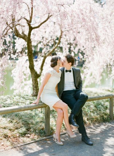 blossoming trees make for the best engagement photos Photography by KT Merry Photography / ktmerry.com, Hair Makeup by Antoine Brechu / antoinebrechu.com/