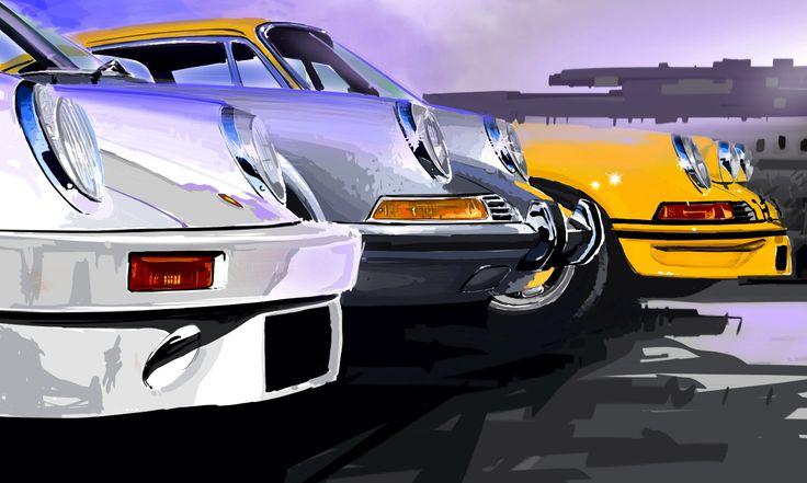 Porsche Family / digigraphie sur toile tendue sur châssis bois / format : 100x60 cm / série de 8 exemplaires signés, numérotés et avec certificat d'authenticité / www.digital-painting-fine art.com