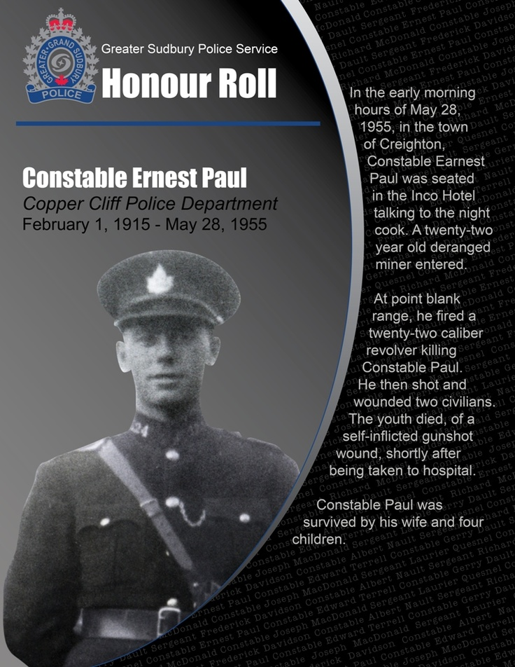 Constable Ernest Paul • Copper Cliff Police Department