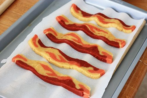 bacon cookies...just look like bacon, using sugar cookie dough