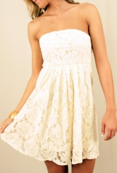 i love laceLace Strapless, Summer Dresses, Strapless Dresses, Cowboy Boots, Rehearsal Dinner, Rehearsal Dress, White Lace, Bridal Shower, Lace Dresses