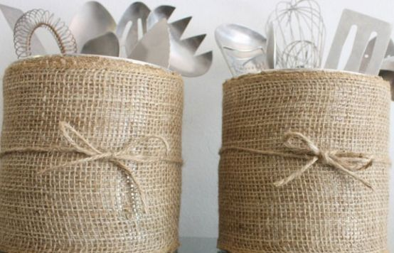 Cover a couple of coffee canisters in burlap to upcycle them into attractive containers for kitchen items.