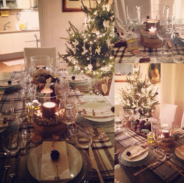 Christmas/winter tablesetting! Likeachalet: the plaid no comes a tablecloth