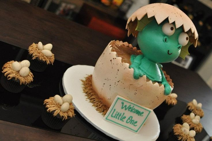 Baby dragon baby shower cake and dragon nest egg cupcakes! #yearofthedragon #babydragon