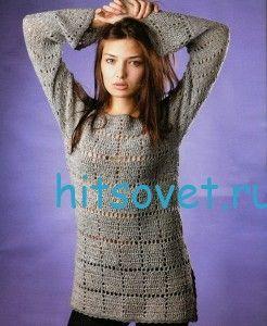 Серый пуловер крючком из пряжи ирис